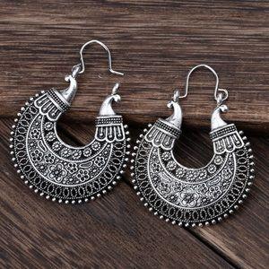 New Silver Hoop Boho Earrings